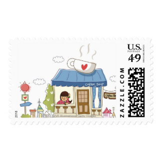 Woman in a coffee shop postage