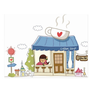Woman in a coffee shop postcard