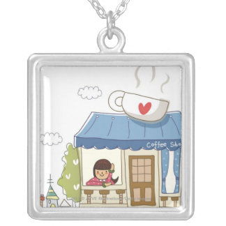 Woman in a coffee shop silver plated necklace