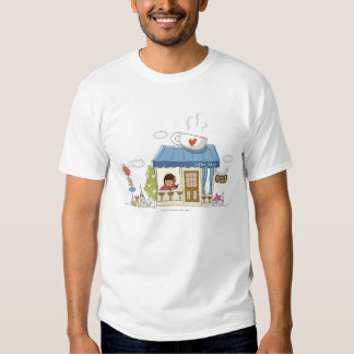 Woman in a coffee shop t shirts