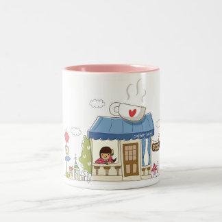 Woman in a coffee shop Two-Tone coffee mug