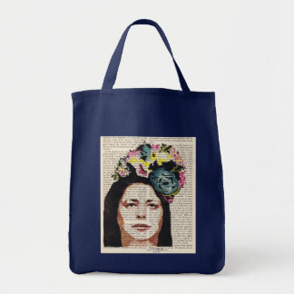Woman in a Flowered Hat Mixed Media Stencil Bag