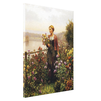 Woman in a Garden by Daniel Ridgway Knight Canvas Print
