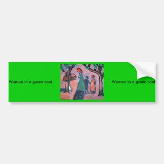 Woman in a green coat car bumper sticker