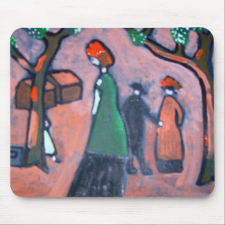 Woman in a green coat mouse pad