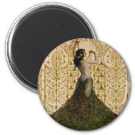 Woman in a Peacock Skirt 2 Inch Round Magnet