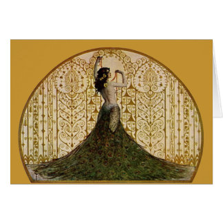 Woman in a Peacock Skirt Greeting Card