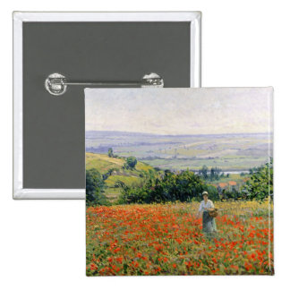 Woman in a Poppy Field Button