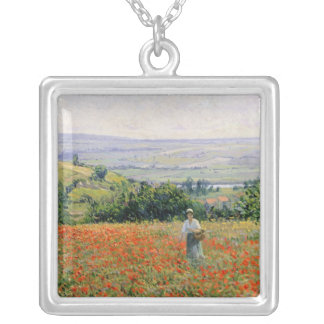 Woman in a Poppy Field Silver Plated Necklace