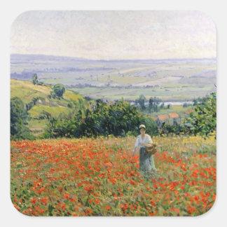 Woman in a Poppy Field Square Sticker