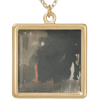 Woman in a red dress (w/c on paper) gold plated necklace