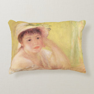 Woman in a Straw Hat, 1879 Decorative Pillow