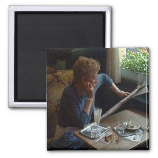 Woman in a Viennese Cafe sq.jpg Magnet