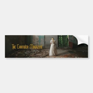 Woman in abandoned chamber bumper sticker