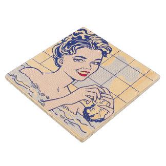 Woman in Bath - Lichtenstein - Vintage Pop Art Wooden Coaster