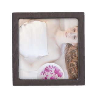 Woman in bed premium trinket box