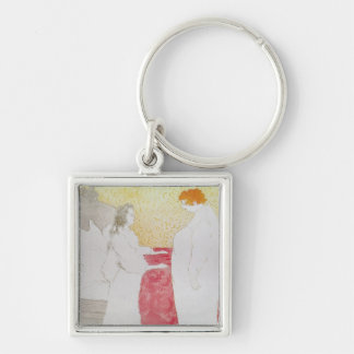 Woman in Bed, Profile - Waking Up, 1896 Keychain