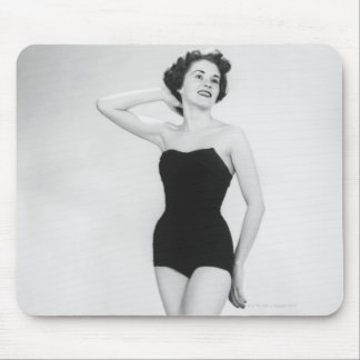 Woman in Black Corset Mouse Pad