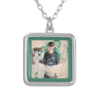 Woman in Black Dress Reading Paper Square Pendant Necklace