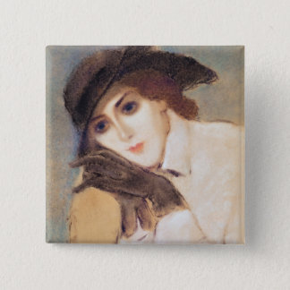 Woman in Black Gloves Pinback Button