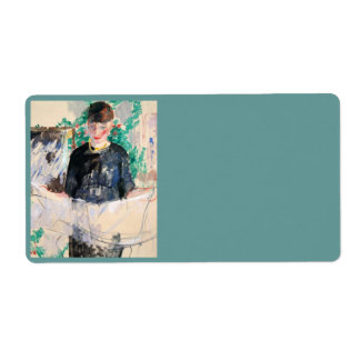 Woman in Black Reading Newspaper Shipping Label