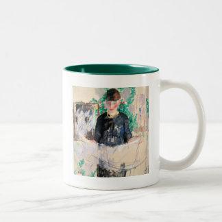 Woman in Black Reading Newspaper Two-Tone Coffee Mug