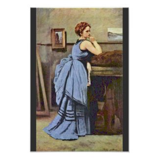 Woman In Blue By Corot Jean-Baptiste-Camille (Best Poster