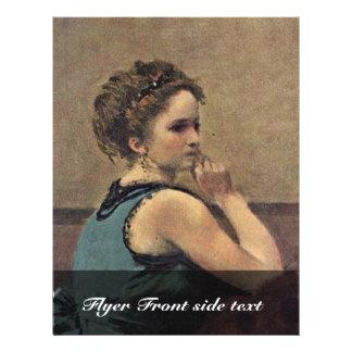 "Woman In Blue Detail By Corot Jean-Baptiste-Camill 8.5"" X 11"" Flyer"