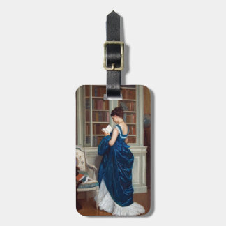Woman in Blue, reading a Book Bag Tag