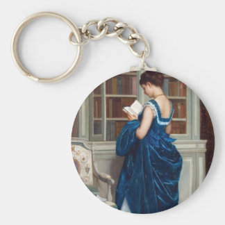 Woman in Blue, reading a Book Basic Round Button Keychain
