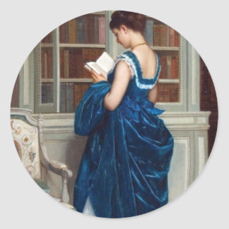 Woman in Blue, reading a Book Classic Round Sticker