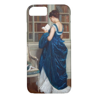 Woman in Blue, reading a Book iPhone 8/7 Case