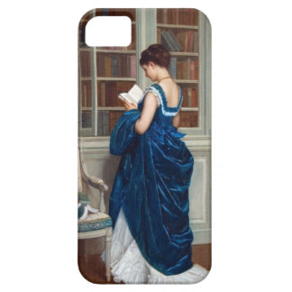 Woman in Blue, reading a Book iPhone SE/5/5s Case