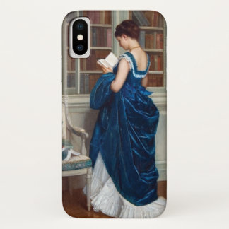 Woman in Blue, reading a Book iPhone X Case