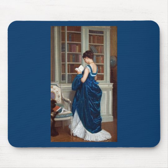 Woman in Blue, reading a Book Mouse Pad