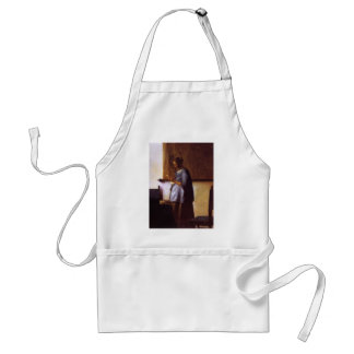 Woman in Blue Reading a Letter Adult Apron
