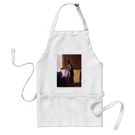 Woman in Blue Reading a Letter Aprons