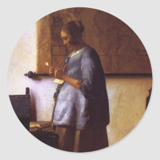 Woman in Blue Reading a Letter Classic Round Sticker