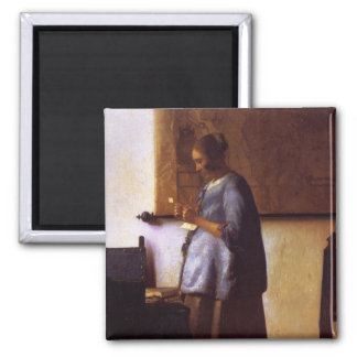 Woman in Blue Reading a Letter Fridge Magnets