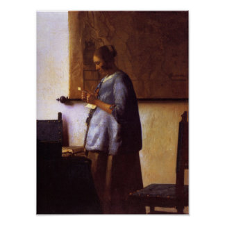 Woman in Blue Reading a Letter Poster