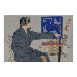 Woman in Cafe with Umbrella Vintage Painting Poster