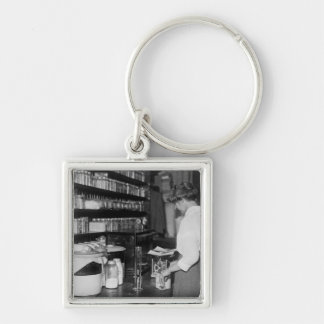 Woman in Chemistry Lab, 1910s Keychain