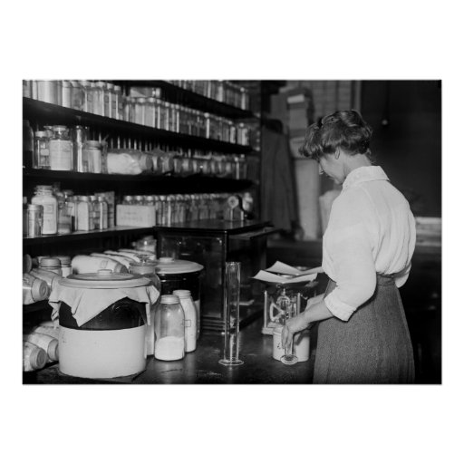 Woman in Chemistry Lab, 1910s Poster