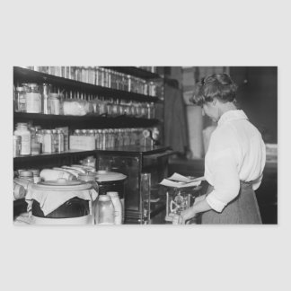 Woman in Chemistry Lab, 1910s Rectangular Sticker