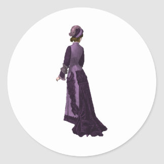 Woman in Classic Violet Dress Classic Round Sticker