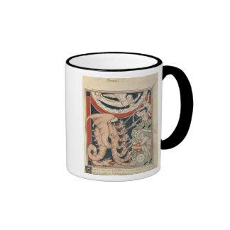 Woman in cloud above five men fighting ringer coffee mug