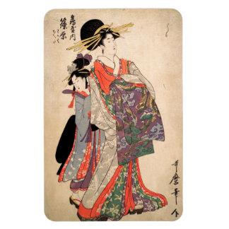 Woman in colorful kimono magnet