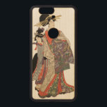 """Woman in colorful kimono (Vintage Japanese print) Wood Nexus 6P Case<br><div class=""""desc"""">Woman in colorful kimono (courtesan?). Vintage japanese print by Kitagawa Utamaro. Polychrome woodblock print; ink and color on paper</div>"""