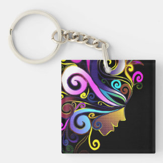"""Woman in colorful masquerade"", face art, Keychain"