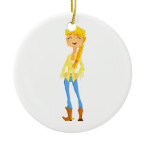 Woman In Cowboy Disguise Stading Smiling With Hand Ceramic Ornament